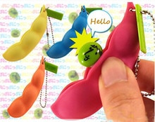 Haricots amusants presser jouets pendentifs Anti-Stress balle presser Gadgets drôles porte-clés llaveros chaveiro brelok sleutelcintre