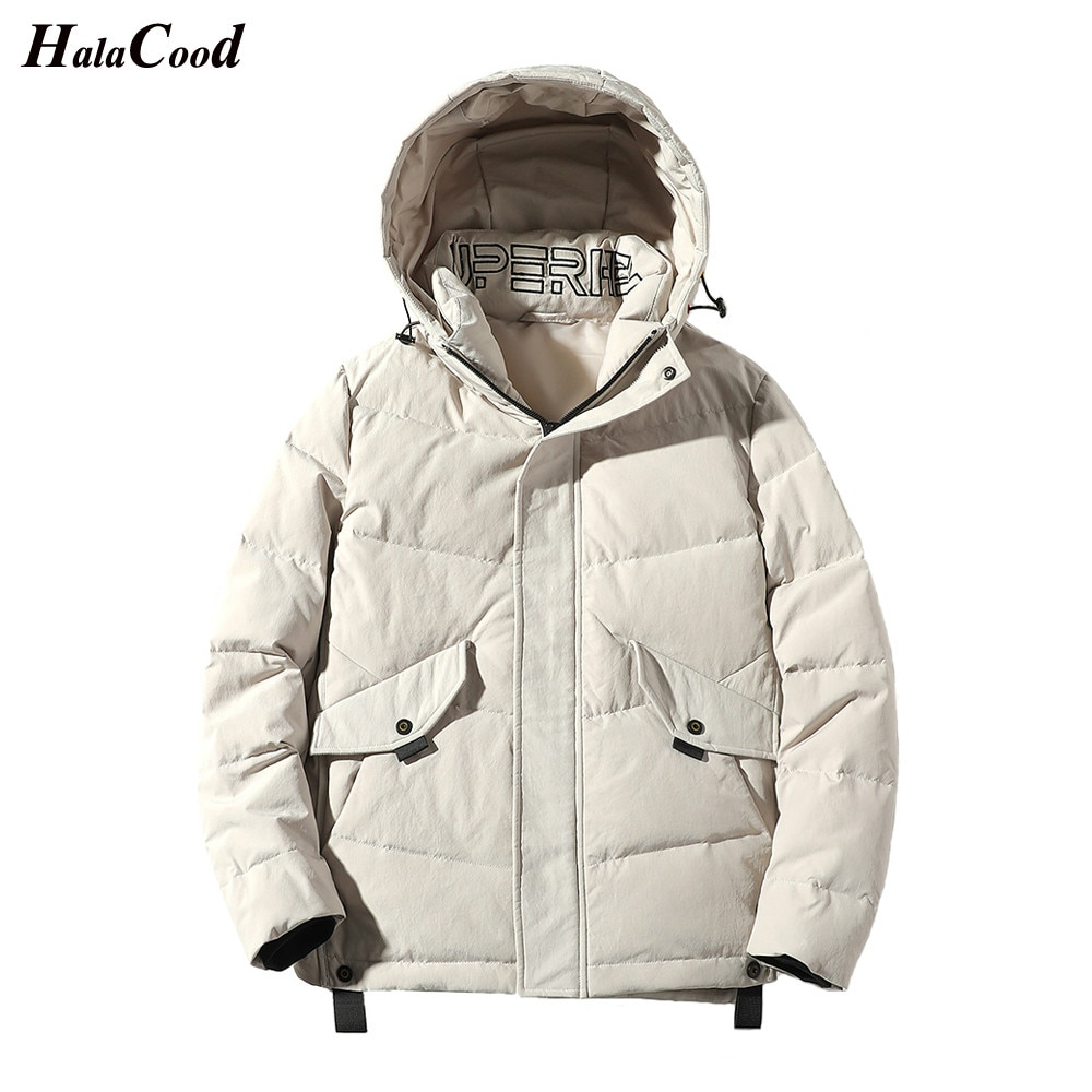 2020 new white duck down jacket men thick winter normcore minimalist hooded windproof warm coat parka big pockets size 3xl HALACOOD Brand New Male Quality Plus Size 3XL Down Jacket Men White Duck Down Coat Male Jacket Coat Windproof Warm Autum Winter