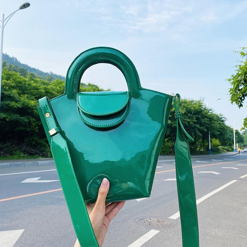 Autumn 2021 Luxury Crocodile Pattern Bag Patent Leather Net Red Ladies Handbag Wide Shoulder Strap Single Messenger