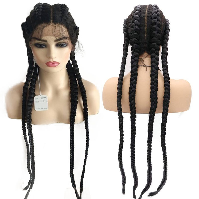 30 inch 360 Full Lace Braided Wig with Baby Hair Black Brown Box Braid Synthetic Lace Front Wig for Women Hand Twisted Wig