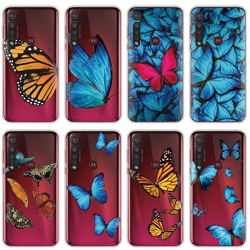 Мягкие силиконовые чехлы для Motorola Moto G8 Plus G6 G7 Power EU E6 Plus P40 P50 One Action Z Z2 Z3 Z4 Play Case Cartoon Butterfly