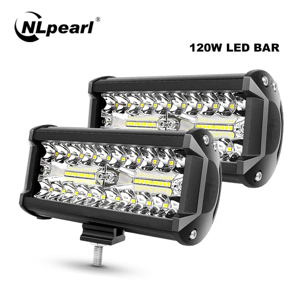 NLpearl, barra de luces LED para coche de 7 pulgadas y 120W, barra de luz LED para vehículos todoterreno, camiones, tractores, barcos, 4x4, ATV, barra de luz LED de obra, Luz antiniebla para vehículos de 12V