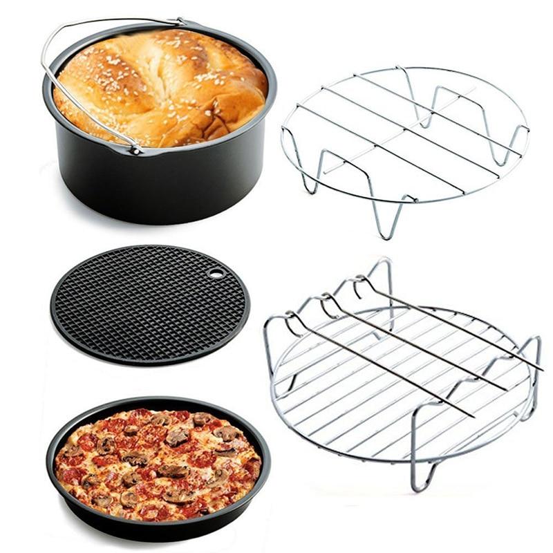 ملحقات مقلاة هوائية مقاس 7 بوصات ، 16 قطعة ، مناسبة للمقلاة الهوائية 3.2QT-5.8QT ، سلة الخبز ، طبق البيتزا ، الشواية ، أداة المطبخ