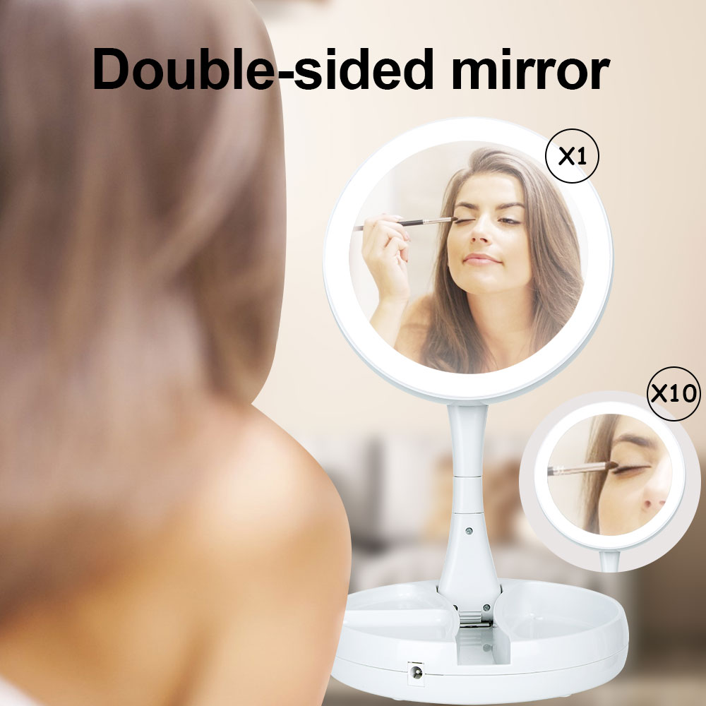 Foldable Round Make-up Mirror with LED Light 1x 10x magnifing beauty mirror  portable fold Double-si