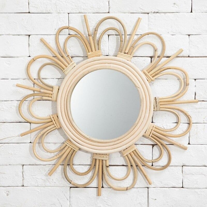 Espelho de Maquiagem Parede do Banheiro Rattan Arte Inovadora Homestay Decoração Vestir