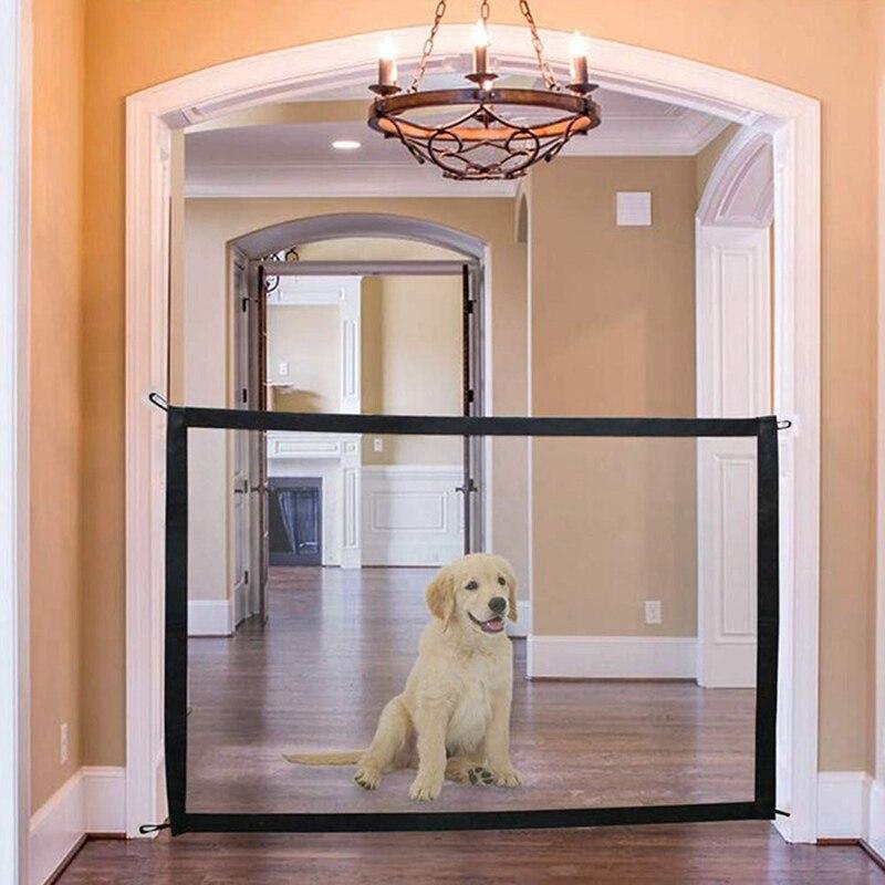 Puerta mágica para perros vallas para mascotas protector seguro plegable portátil interior y exterior Portable de malla plegable para mascotas