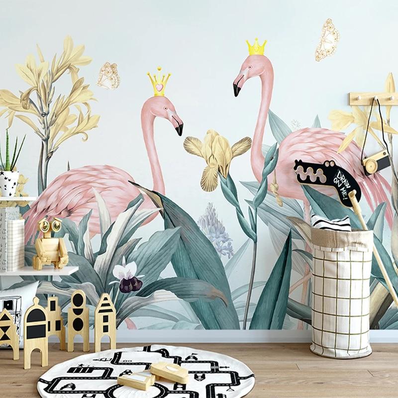 Papel pintado autoadhesivo personalizado 3D planta Tropical hoja de plátano foto de flamenco Mural de pared Sala TV sofá pegatinas de pared del dormitorio