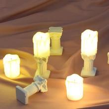 Миниатюрные предметы для фотосъемки, имитация римских колонн, светящиеся электронные свечи, декорация для фотосъемки, реквизит для фотосъемки