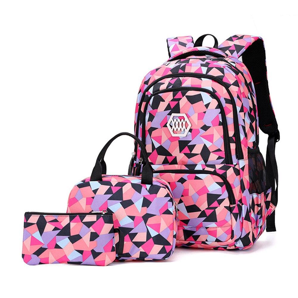 Школьные ранцы для девочек-подростков, набор женских рюкзаков с геометрическим рисунком, школьный портфель для учеников, милый рюкзак для к...