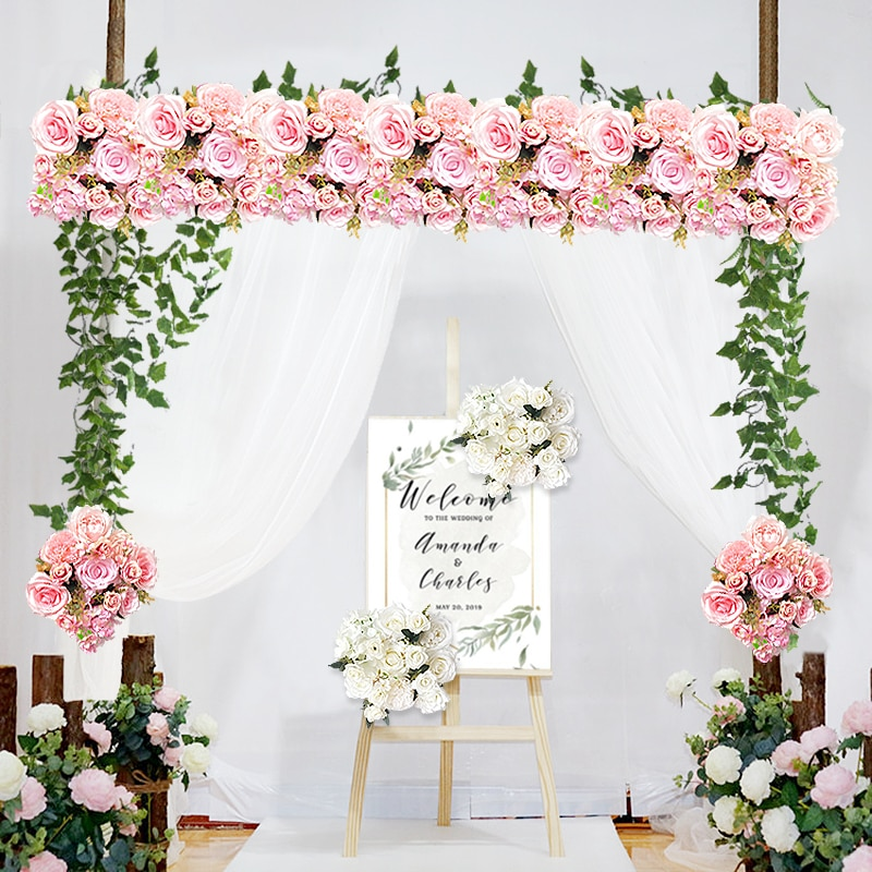 Personalizar hilera de flores artificiales guirnalda decoración hogar cortina boda camino plomo esquina flor pared seda flores centros de mesa bola