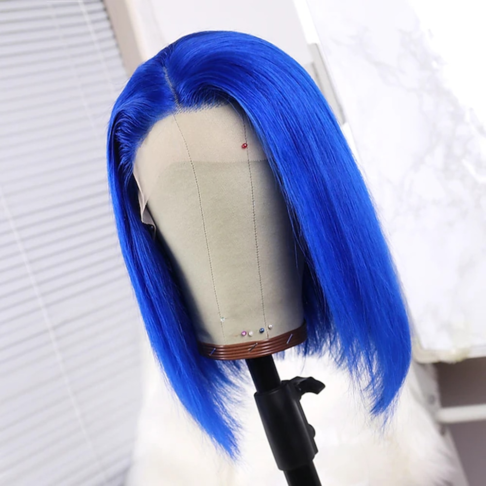 150% Density New Design Women Lovely Youth Women's Short Human Hair Lace Wig Blue Bob style wigs for white women