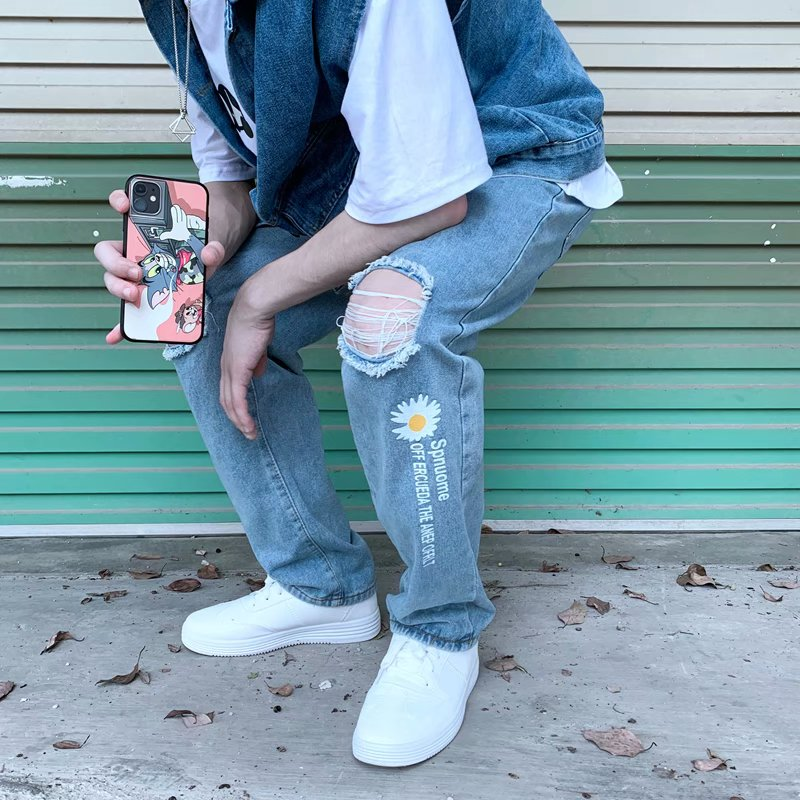 Штаны мужские свободные прямые с принтом, темпераментные модные Молодежные Популярные штаны для отдыха, литература и искусство, джинсы