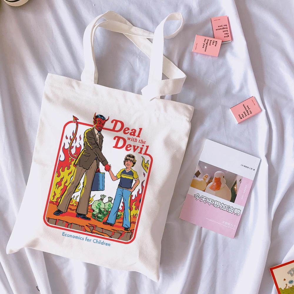 Делитесь с дьявольским буквенным принтом в винтажном стиле Харадзюку, повседневная женская Холщовая Сумка через плечо, веселые летние сумки для покупок с мультипликационным принтом Ulzzang