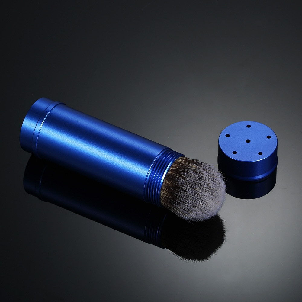 Synthetic Badger Shaving Brush, Portable Blue Travel Style, Aluminum Alloy Handle Foam Brush, Suitable for Men's Close-fitting W