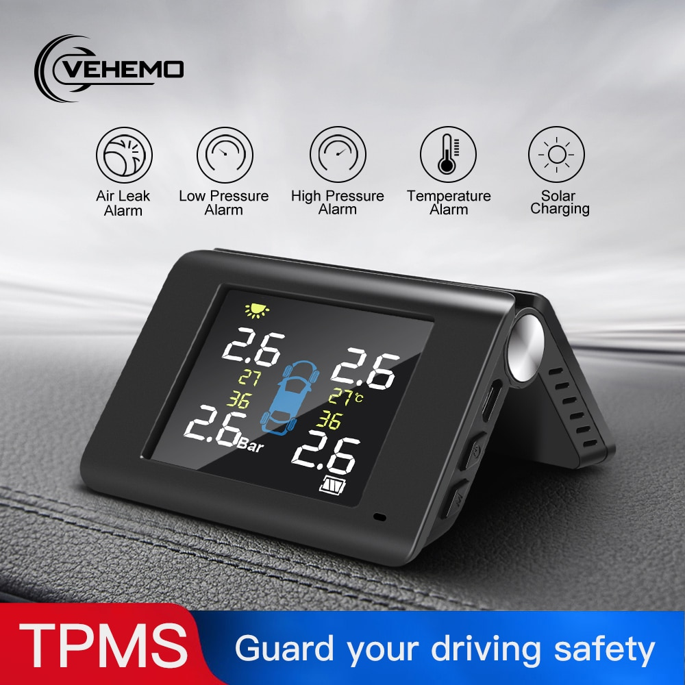 NEW TPMS Solar Tire Pressure Monitoring System 4 External Sensor Car Security Alarm Folding Tire Pressure Monitor System 5v tmps