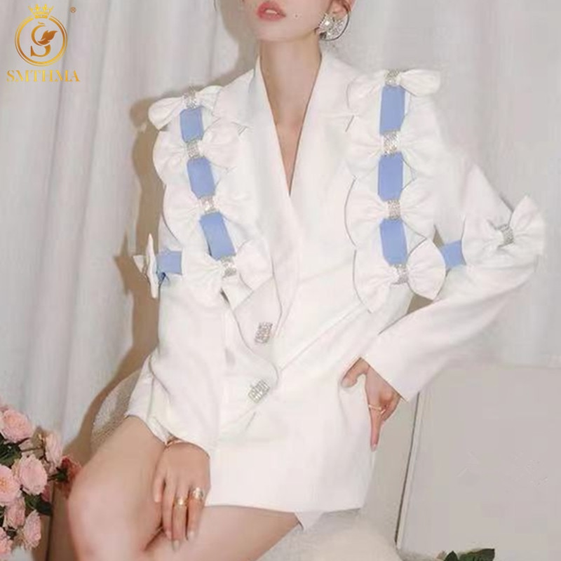 SMTHMA 2021 جديد الخريف سترة المرأة الفاخرة الماس القوس بلون واحدة الصدر معطف