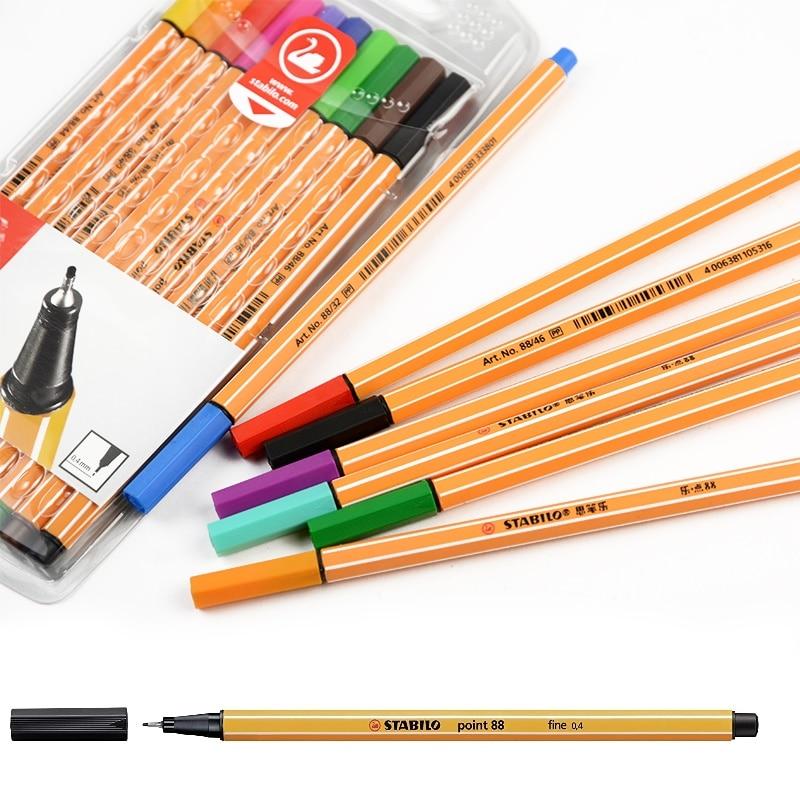 10 pçs stabilo ponto fino forro canetas clássico linha largura 0.4mm para a escrita fina desenho pintura esboçar material de arte da escola h6592