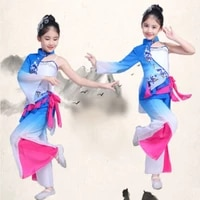 blue chinese folk dance costumes for girls classic fan dance clothes festival stage performance clothing national wear