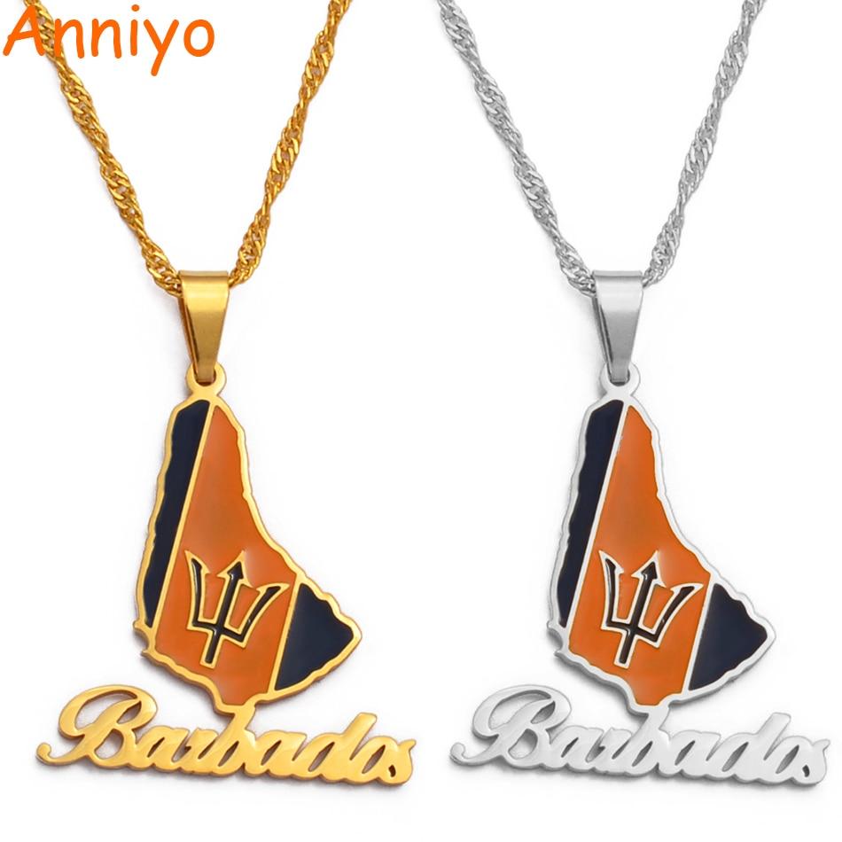 Anniyo-Colgante con diseño de bandera de la isla de Barbados, collar, Color...