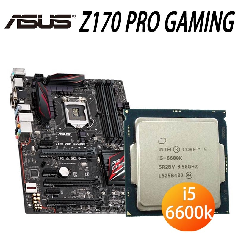 Asus Z170 PRO GAMING + CPU  i5 6600K Motherboard Set 3.5GHz 3.9GHz Four Cores DDR4 PCI-E 3.0 M.2 Z170 Placa-Mãe 1151 Used
