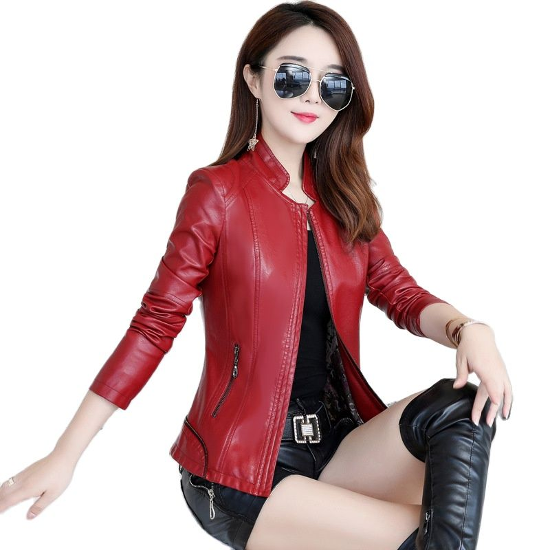 2021 Autumn Leather Jacket Women Outwear Faux Leather Short Coats For Women Plus Size Slim Short Tops Women's Leather Jacket