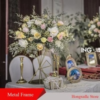 wedding decor backdrops props wrought iron frame detachable hanging hollow ornaments table flower wedding table decoration