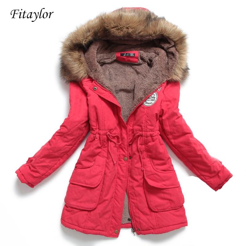 Fitaylor جديد الشتاء المرأة سترة متوسطة طويلة رشاقته أبلى مقنعين معطف محشو سترة ضئيلة القطن وسادة مبطنة معطف