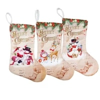 christmas stockings pendant cloth ornaments small boots pendant christmas print party home decoration supplies gift bag bw