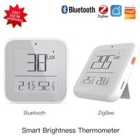 zigbee bt smart brightness thermometer sensor automation module light temperature humidity detector tuya smart life app control