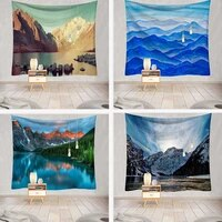beautiful mountain river tapestry wall hanging natural scenery home beach towel yoga bedroom living room blanket mural decor