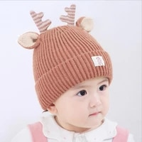 2021 christmas gift for kids girls boys winter warm knitted hats with elk ears cartoon children warm knitted caps unisex hats