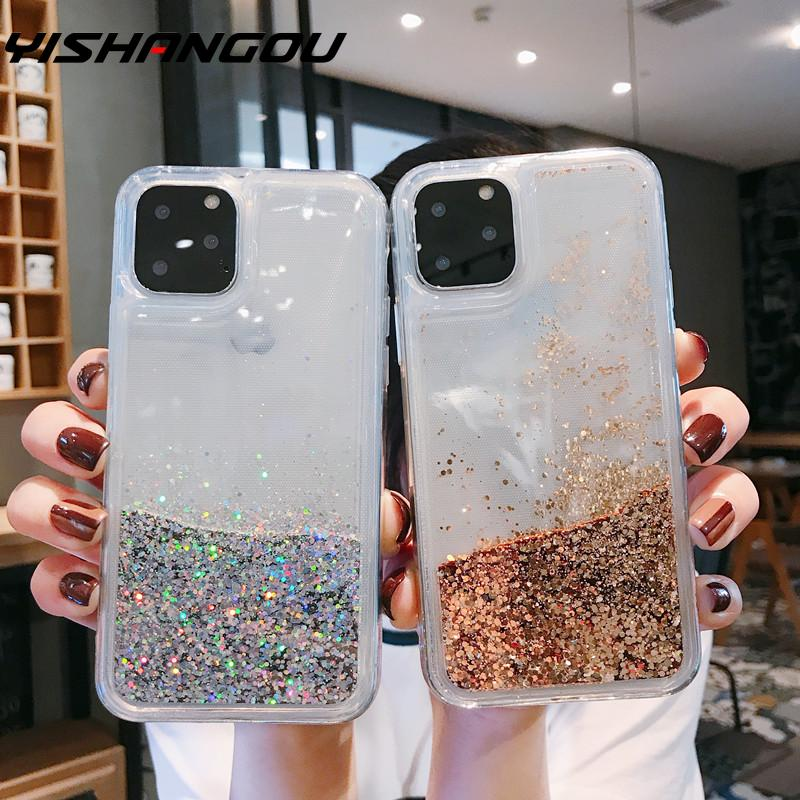 Yishangou bling líquido caixa do telefone areia movediça para o iphone 11 pro se 2 max 7 8 estrelas brilhantes pc + tpu glitter capa para iphone xs xr 6s