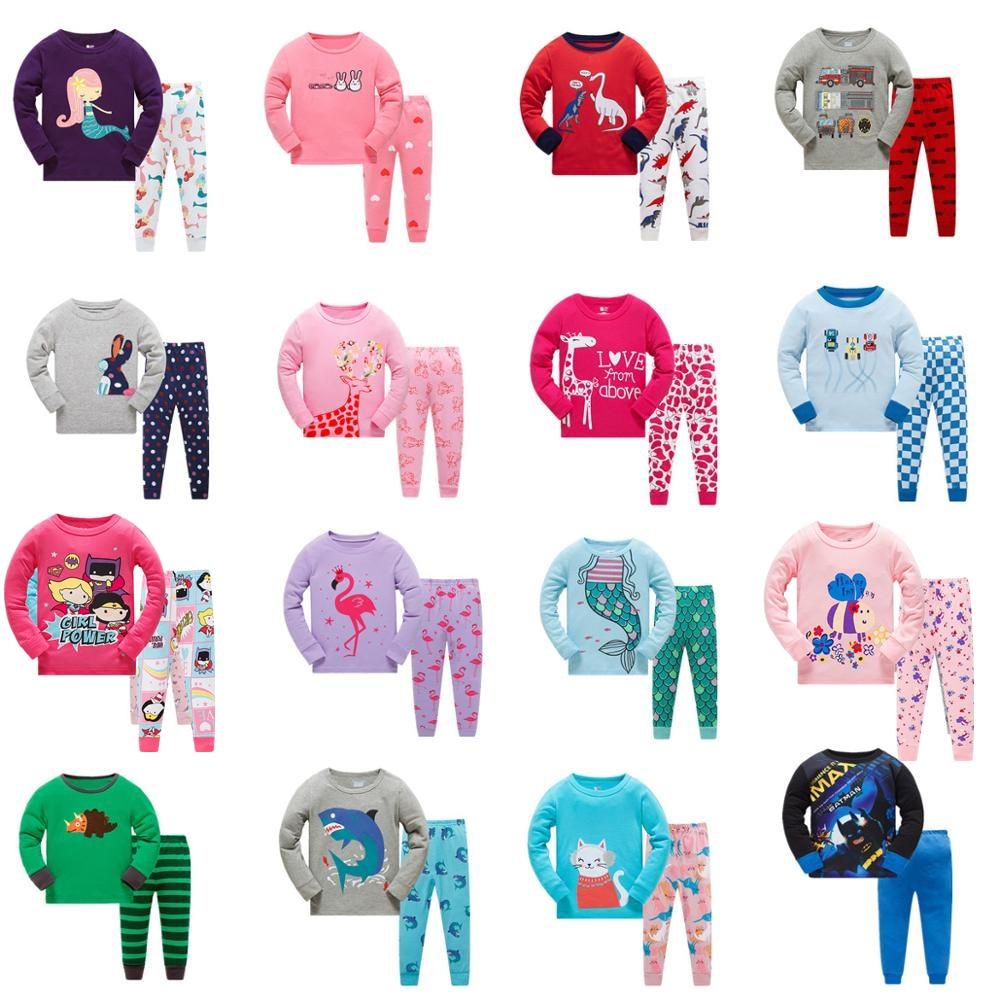 2019 Children Pajamas Clothing Set Boys & Girls Cartoon Sleepwear Suit Sets Kids Long-sleeved+Pant 2-Piece Cotton Pajamas Sets
