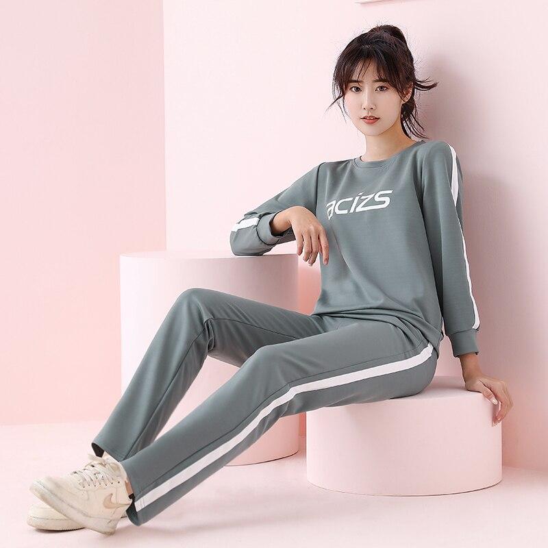 2020 nuevo traje de Jogging para mujer, sudadera con estampado de letras, jersey con capucha para correr, ropa deportiva, ropa de gimnasio, chándal Casual