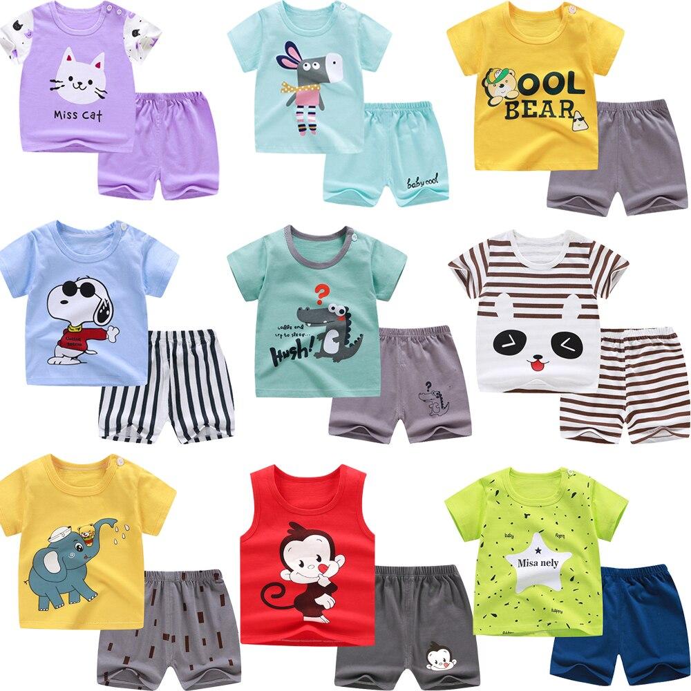 Pijamas de verano para niños ropa de dormir de manga corta para bebés conjuntos de Pijamas para niños niñas Pijamas de animales Pijamas de algodón ropa de dormir