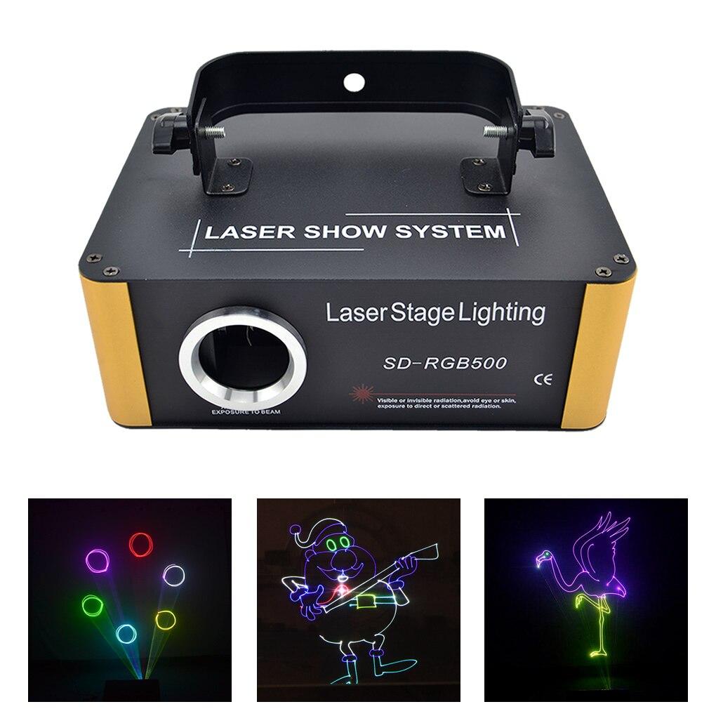 Programme de carte TF 500mW rvb Laser Animation Scan projecteur éclairage de scène Xmas DJ fête spectacle DMX lumière de rayon mobile ILD fichier SD-F500