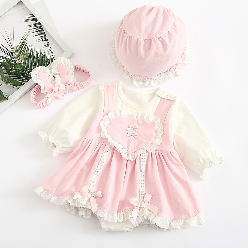 Baby girl dress baby long sleeve dress Princess Dress puffy pink lace creeping suit cute sweet suit