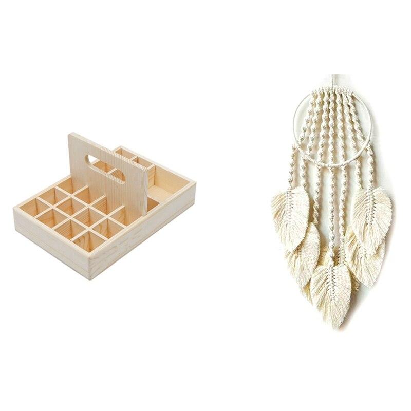 زيت طبيعي تخزين صندوق خشبي مقصورة صندوق تخزين 15 مللي 20 + 1 و دريكاتشر المنسوجة الرياح الدقات معلقة قلادة ورقة