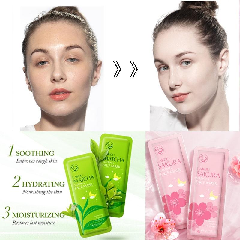 Sakura Face Sleeping Mask Green Tea Repairing Cherry Blossom Moisturizing Seaweed Anti-aging Snail Oil-Control Essence Skin Care