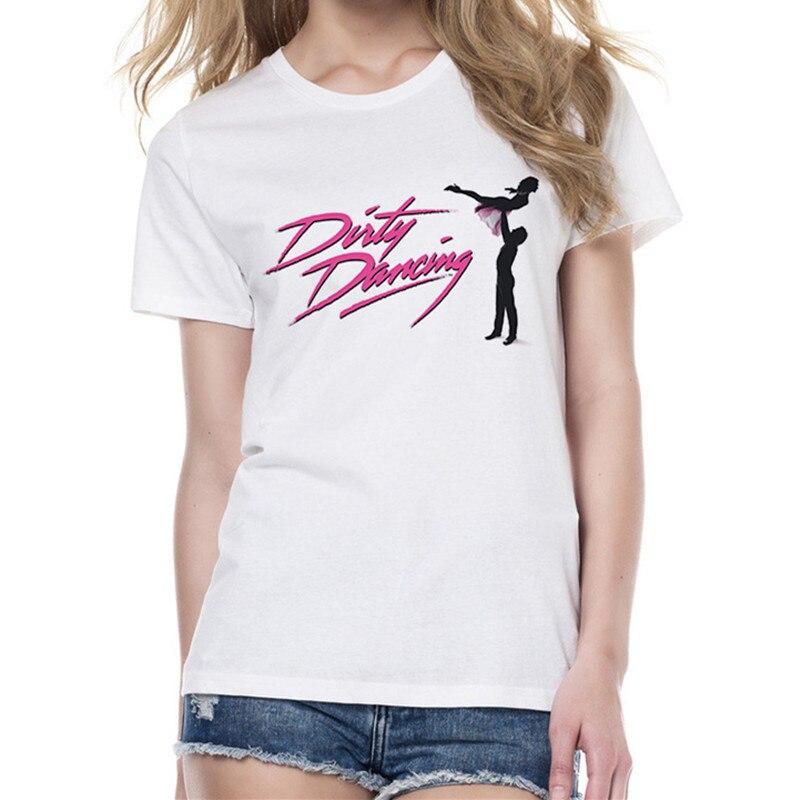 Camiseta de baile sucio de moda de verano Camiseta de manga corta de mujer cuello redondo camisetas blancas ropa femenina