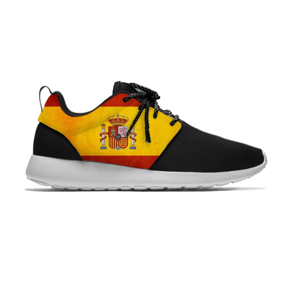 España Bandera Nacional moda clásica personalidad deporte correr zapatos Casual transpirable ligero 3D impreso hombres mujeres zapatillas