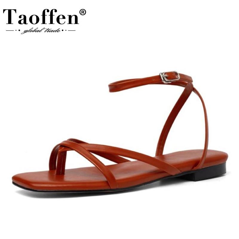 Taoffen, sandalias de piel auténtica planas para mujer, zapatos de verano de alta calidad para mujer, zapatos de mujer a la moda habituales, calzado de vacaciones, talla 36-40