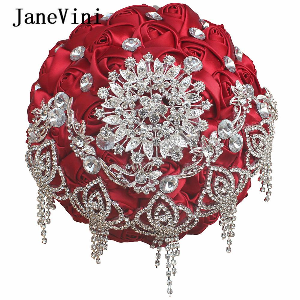JaneVini Luxury Red Wedding Bouquet Rhinestone Crystal Artificial Satin Roses Bridal Bouquet Holding Flowers Wedding Accessories peorchid crystal feathers handmade wedding bouquet luxury blue bridal brooch bouquet european diamond crown flowers bouquet