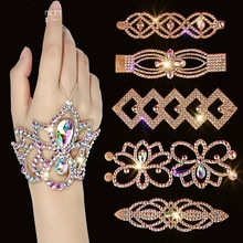 Rhinestone Bracelet Soft Stretch Sparking Belly Dance Costume Accessory For Women Shine Jewelry Stag