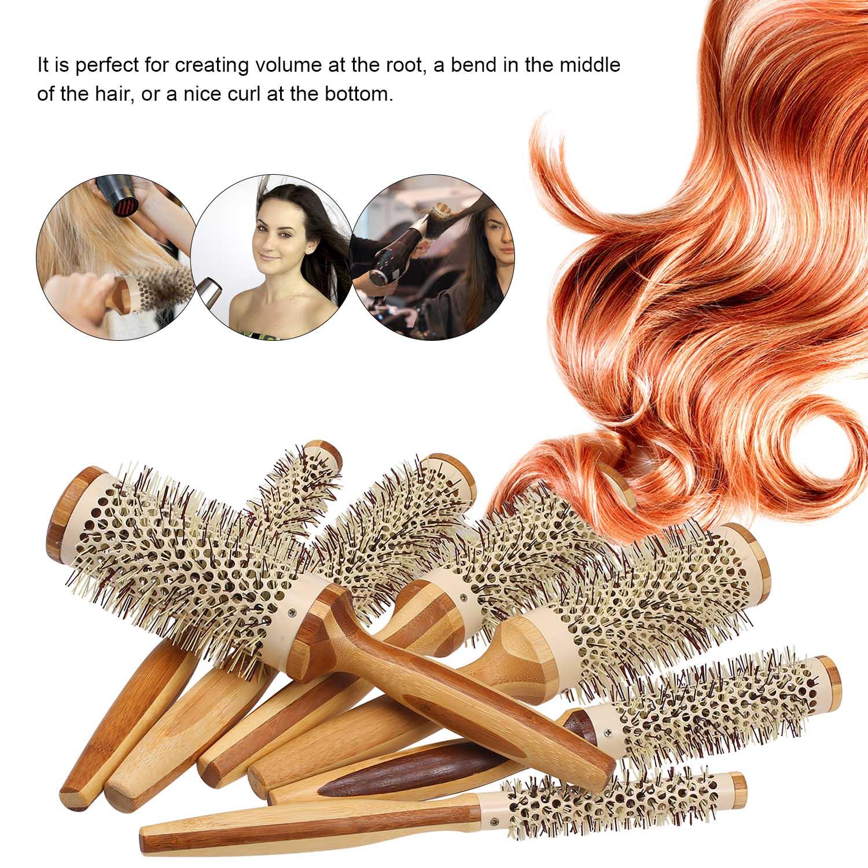 Brosse sèche-cheveux ronde en bois naturel avec poils en Nylon
