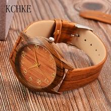 2020 KCHKE رائجة البيع ساعة رجالي ساعة خشبية للرجال ساعة رجالية جلدية ساعة خشبية Relogio masculino