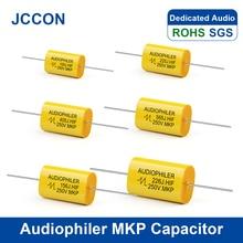 Condensador de Audio para Audiophiler MKP, película metálica, HIFI, sin electrodos, acoplamiento de frecuencia divisoria de 250V, 1UF, 1,5 UF, 1,8 UF, 2,2 UF, 10 Uds.