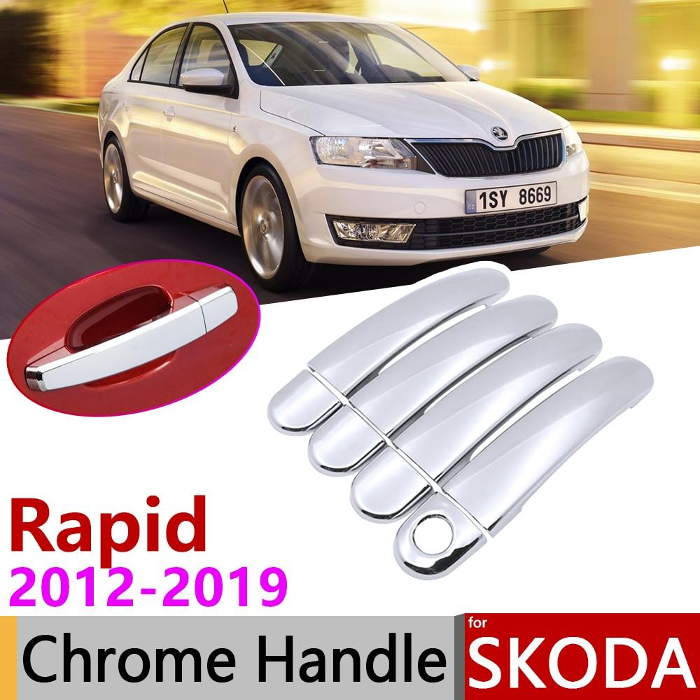 for Skoda Rapid Sedan Comib 2012~2019 Chrome Exterior Door Handle Cover Car Accessories Stickers Trim Set 2014 2016 2017 2018