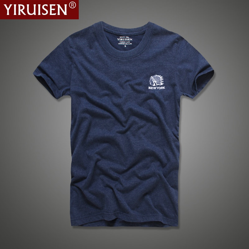 Top Quality 100% Cotton Indian Embroidery T shirt Men Short Sleeve Summer T-Shirt Fashion Clothing YiRuiSen Brand Tshirt Homme