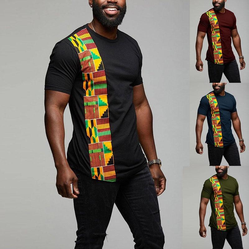 Camiseta Kente africana con diseño de telas combinadas de Color, camiseta de estilo Ankara para hombre, camisetas de cuello redondo, camiseta para hombre de manga corta negra
